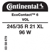 245/35 R21 96W Continental EcoContact 6 XL VOL (Volvo V90)