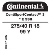275/40 R18 99Y Continental ContiSportContact 3 E SSR RunFlat * (BMW Series 5 E60)