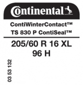 205/60 R16 96H Continental ContiWinterContact TS830 P XL ContiSeal