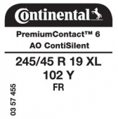 245/45 R19 102Y Continental PremiumContact 6 XL FR ContiSilent AO (Audi A6 C8)