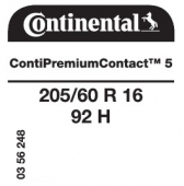 205/60 R16 92H Continental ContiPremiumContact 5
