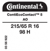 215/65 R16 98H Continental ContiEcoContact 5 AO (Audi Q3)
