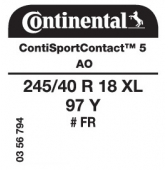 245/40 R18 97Y Continental ContiSportContact 5 XL FR AO (Audi A4/A5)