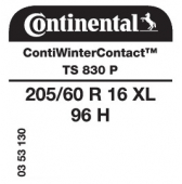 205/60 R16 96H Continental ContiWinterContact TS830 P XL
