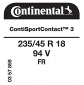 235/45 R18 94V Continental ContiSportContact 3 FR (VW Beetle)