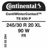 245/30 R20 90W Continental ContiWinterContact TS830 P XL FR