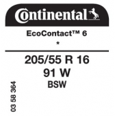 205/55 R16 91W Continental EcoContact 6 * (BMW 1-Series F40)