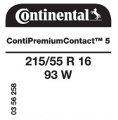 215/55 R16 93W Continental ContiPremiumContact 5