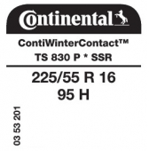 225/55 R16 95H Continental ContiWinterContact TS830 P SSR Runflat * (BMW)