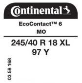 245/40 R18 97Y Continental EcoContact 6 XL MO (Mercedes C-Class W205)