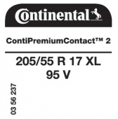 205/55 R17 95V Continental ContiPremiumContact 2 XL (Ford Transit 408)
