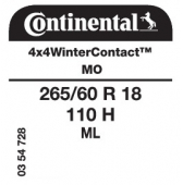 265/60 R18 110H Continental 4x4WinterContact ML MO (Mercedes)