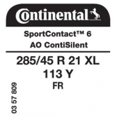 285/45 R21 113Y Continental SportContact 6 XL FR ContiSilent AO (Audi Q8)