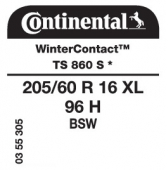 205/60 R16 96H Continental WinterContact TS 860S XL *