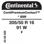 205/55 R16 91W Continental ContiPremiumContact SSR RunFlat * (BMW)