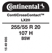 255/55 R20 107H Continental CrossContact LX 20