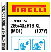 285/40 ZR19 (107Y) Pirelli P-Zero PZ4 Sports Car XL MO1 (Mercedes GT4 X290)