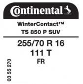 255/70 R16 111T Continental WinterContact TS850 P SUV FR