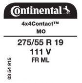 275/55 R19 111V Continental 4x4Contact FR ML MO (Mercedes)