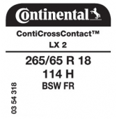 265/65 R18 114H Continental ContiCrossContact LX 2 FR