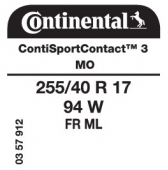 255/40 R17 94W Continental ContiSportContact 3 FR ML MO (Mercedes E-Class Coupe C207)