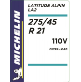 275/45 R21 110V Michelin Latitude Alpin 2 XL