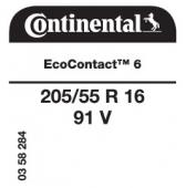 205/55 R16 91V Continental EcoContact 6