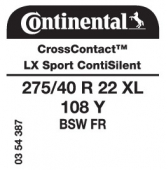 275/40 R22 108Y Continental CrossContact LX Sport XL FR ContiSilent (Land Rover)