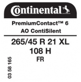 265/45 R21 108H Continental PremiumContact 6 XL FR ContiSilent AO (Audi Q6)
