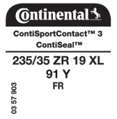 235/35 ZR19 91Y Continental ContiSportContact 3 XL FR ContiSeal (VW Passat Coupe B6)