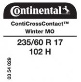 235/60 R17 102H Continental CrossContactWinter MO (Mercedes)