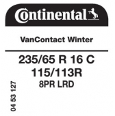 235/65 R16C 115/113R Continental VanContact Winter 8PR