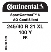 245/40 R21 100Y Continental SportContact 6 XL FR ContiSilent AO (Audi)
