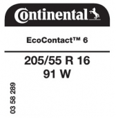 205/55 R16 91W Continental EcoContact 6