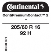 205/60 R16 92H Continental ContiPremiumContact 2 * (BMW)