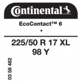 225/50 R17 98Y Continental EcoContact 6 XL * (BMW 3-Series G20)