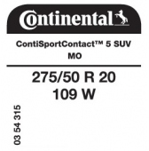 275/50 R20 109W Continental ContiSportContact 5 SUV MO (Mercedes ML-Class)