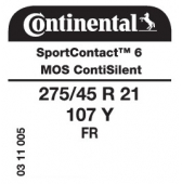 275/45 R21 107Y Continental SportContact 6 FR ContiSilent MO-S (Mercedes GLE)