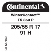 205/55 R17 91H Continental WinterContact TS850 P