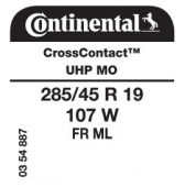 285/45 R19 107W Continental CrossContact UHP FR ML MO (Mercedes M-Class W164,R-Class)