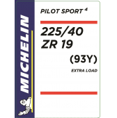 225/40 ZR19 (93Y) Michelin Pilot Sport 4 XL