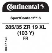 285/35 ZR19 (103Y) Continental SportContact 6 XL FR