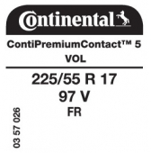 225/55 R17 97V Continental ContiPremiumContact 5 FR VOL (Volvo S90)