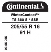 205/55 R16 91H Continental WinterContact TS 860S SSR Runflat * (BMW)