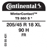 205/45 R18 90H Continental WinterContact TS 860S XL FR * (BMW)