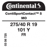 275/40 R19 101Y Continental ContiSportContact 5 FR MO (Mercedes S-Class)