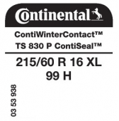 215/60 R16 99H Continental ContiWinterContact TS830 P XL ContiSeal