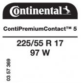 225/55 R17 97W Continental ContiPremiumContact 5 (VW Passat)