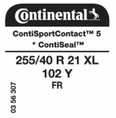 255/40 R21 102Y Continental ContiSportContact 5 XL FR ContiSeal * (Rolls Royce RP05 Ghost Coupe)