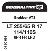 LT 255/65 R17 114/110S General Tire Grabber AT3 LRD FR 8PR